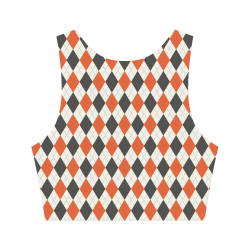 Orange Black and White Halloween Argyle Women's Crop Top (Model T42)