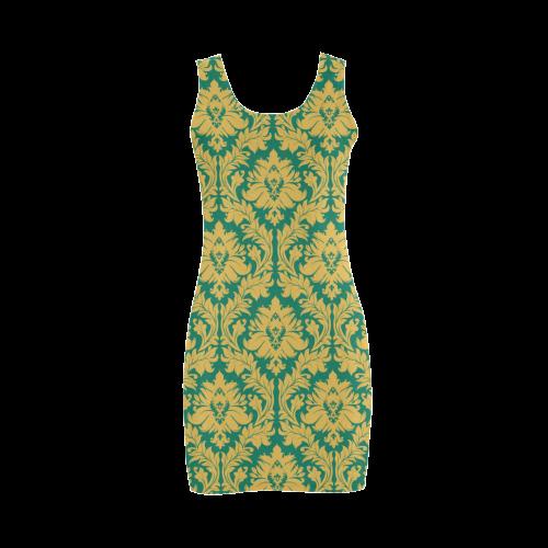 autumn fall green mustard yellow damask Medea Vest Dress (Model D06)