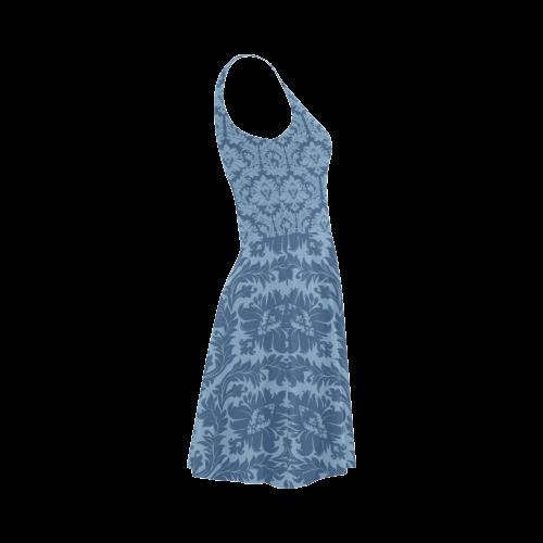autumn fall colors blue damask pattern Atalanta Sundress (Model D04)