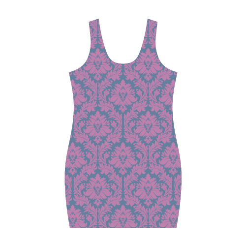 autumn fall colors pink blue damask pattern Medea Vest Dress (Model D06)