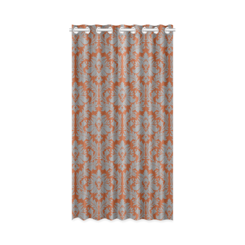 Autumn Fall Color Red Grey Damask New Window Curtain 50 X