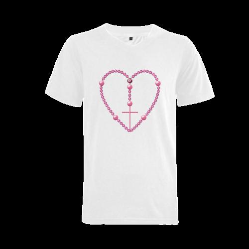Catholic: Heart-Shaped Rosary - Pink Pearl Beads Men's V-Neck T-shirt  Big Size(USA Size) (Model T10)