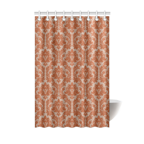 Autumn Fall Color Red Beige Damask Shower Curtain 48 X72