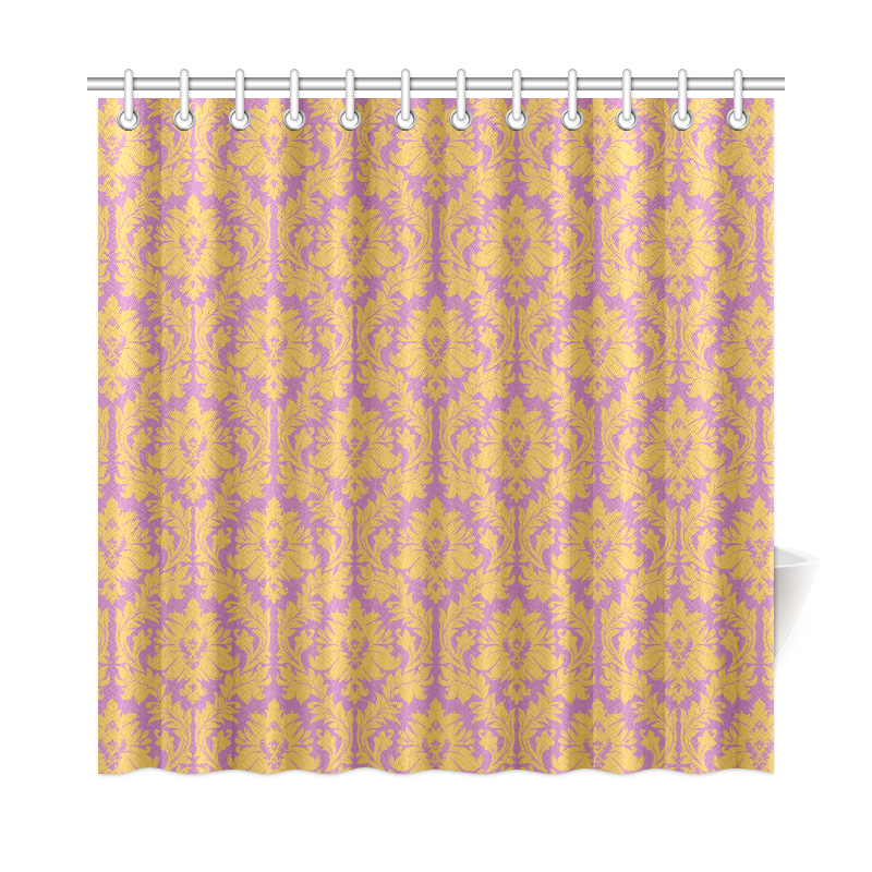 Autumn Fall Mustard Yellow Purple Damask Shower Curtain 72 X72 I