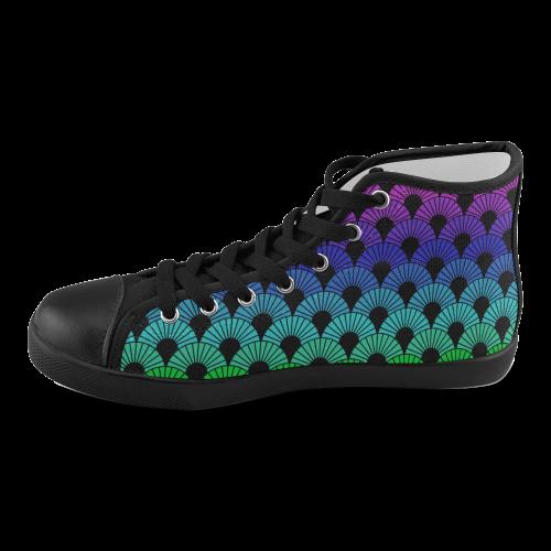 Model002 Artsadd Custom Cyan Polka Dots High Top Canvas Shoes for Men