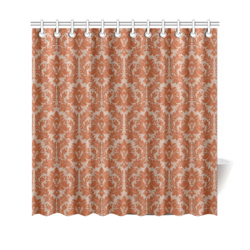 Autumn Fall Color Red Beige Damask Shower Curtain 69x70