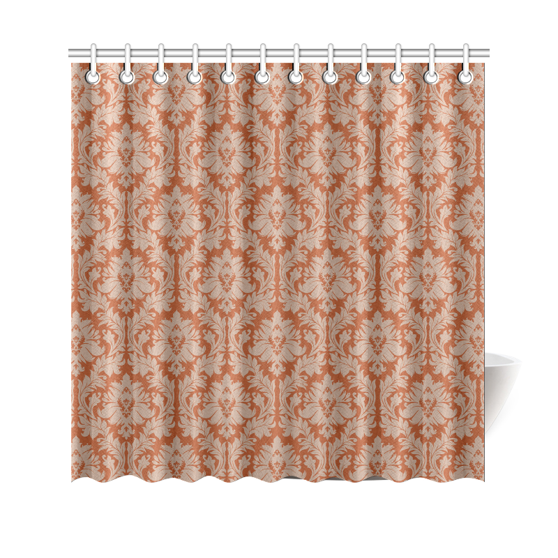 Autumn Fall Colors Red Beige Damask Shower Curtain 69 X70 ID D5