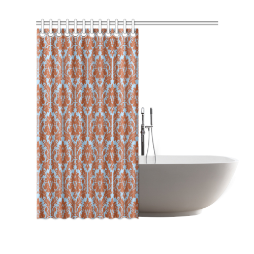 autumn fall color brick red blue damask Shower Curtain 69