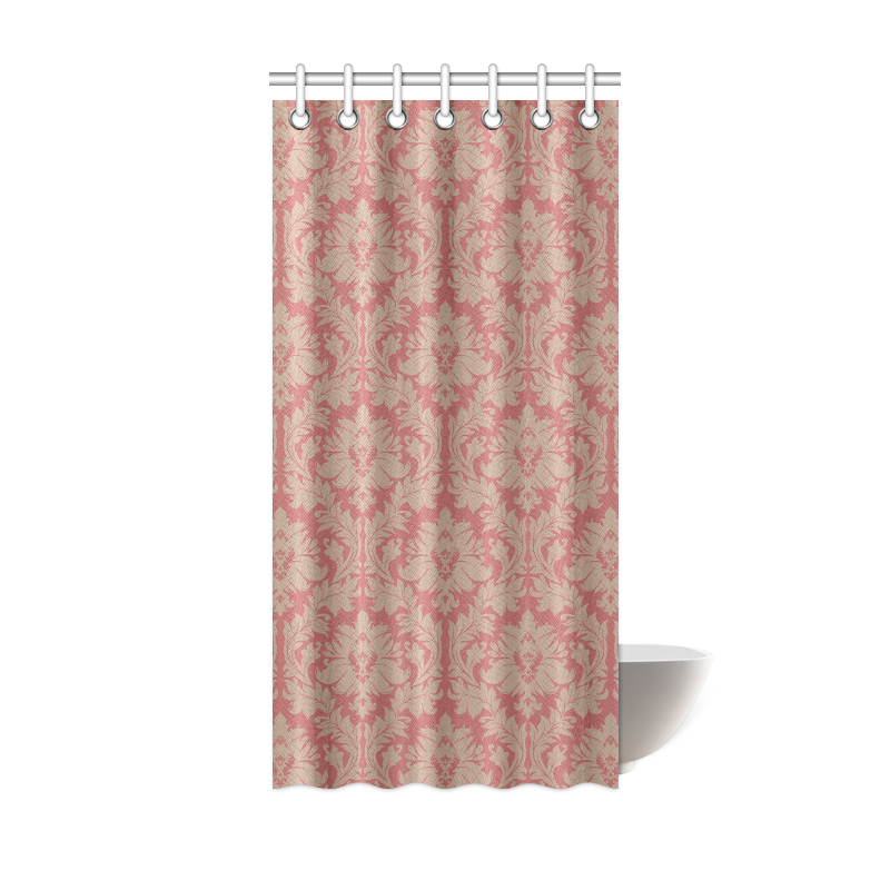 Fall Colors Red Pink Beige Damask Shower Curtain 36 X72 ID D567093