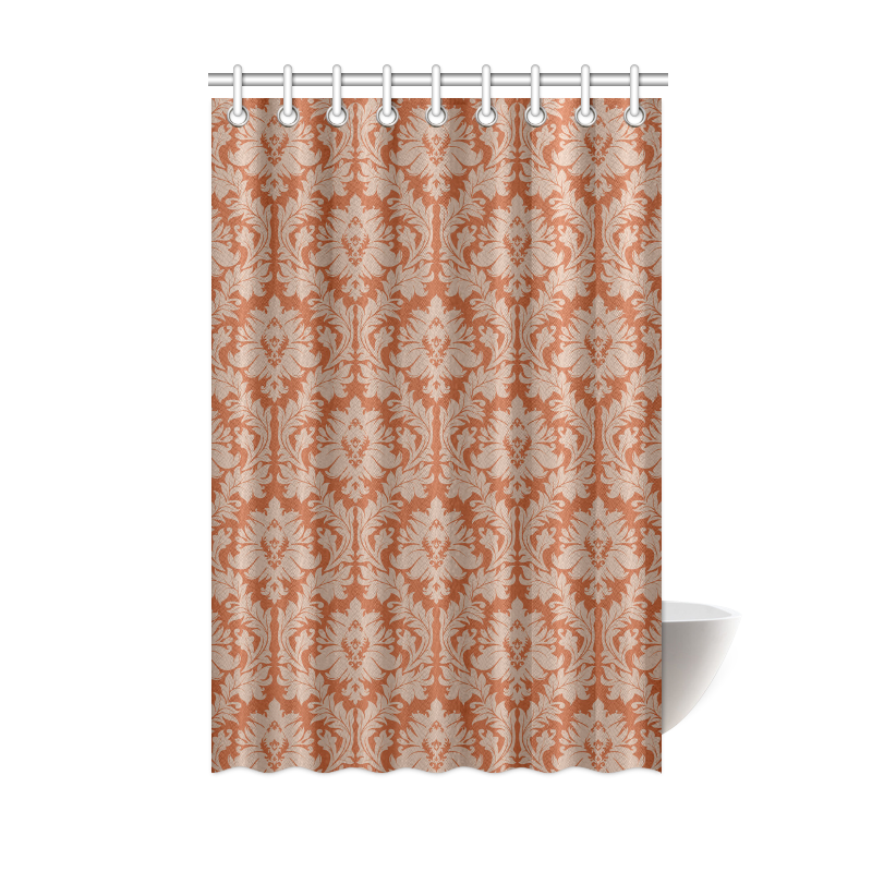 Autumn fall colors red beige damask shower curtain 48quotx72 for Beige damask curtains
