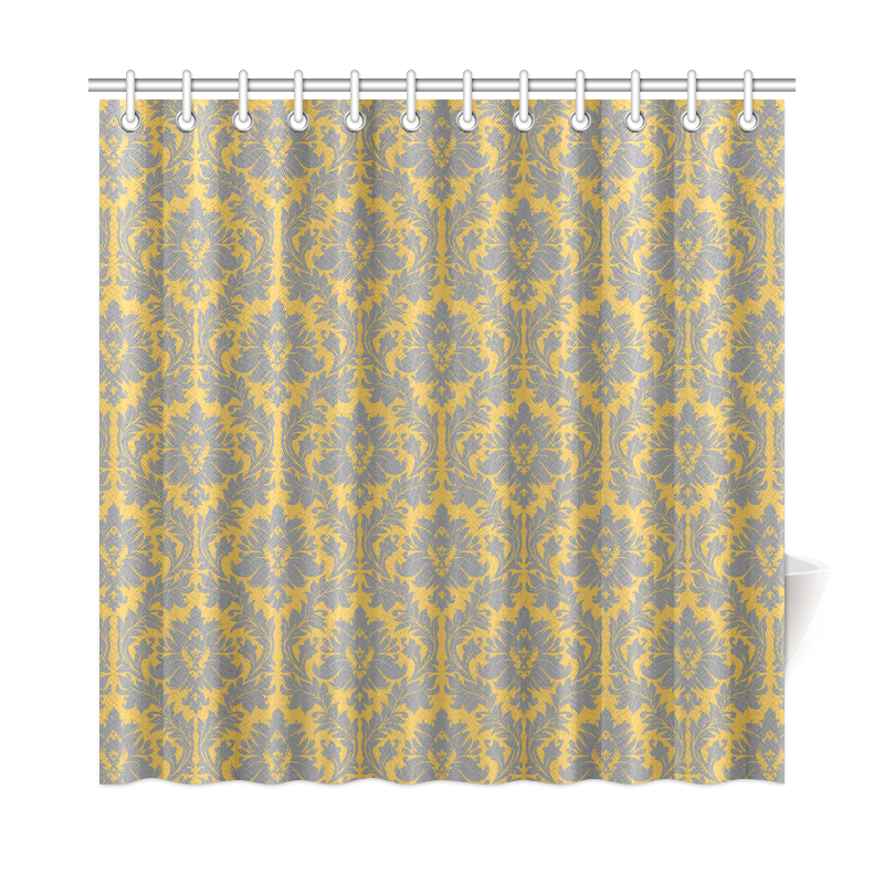 Autumn fall mustard yellow grey damask shower curtain 72 for Gray curtains png