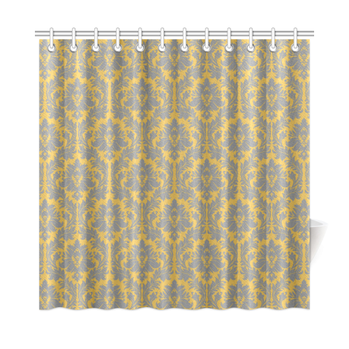 autumn fall mustard yellow grey damask shower curtain 72
