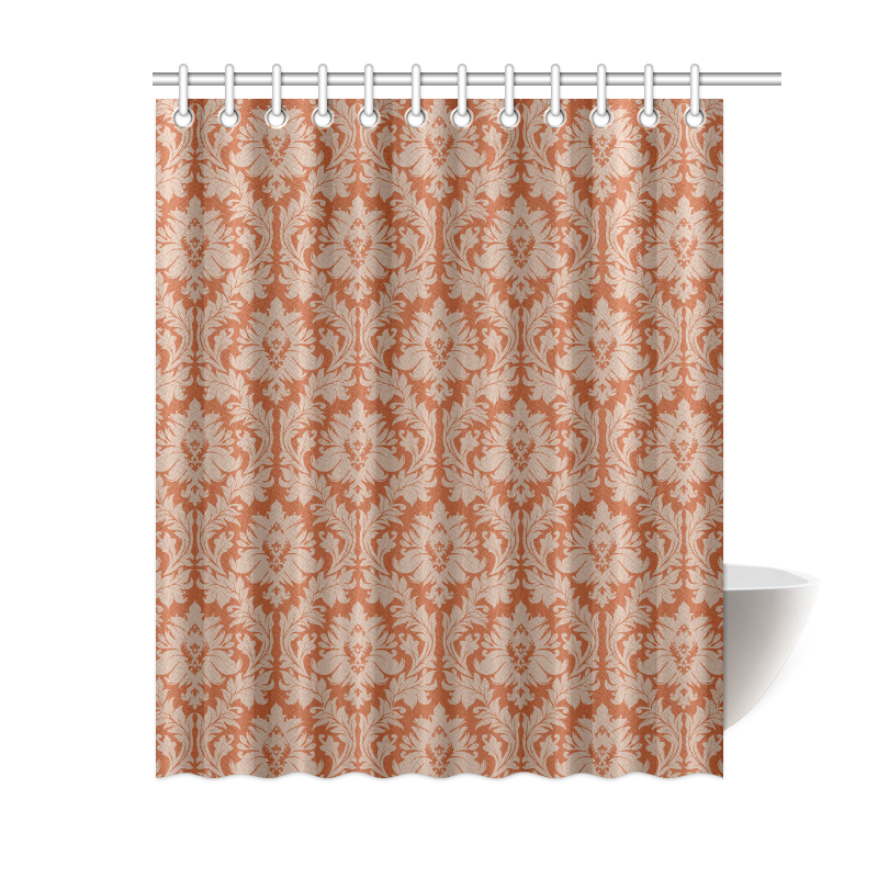 Autumn Fall Colors Red Beige Damask Shower Curtain 60x72