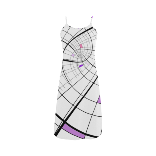 Swirl Grid Lilac Rose Spiral Alcestis Slip Dress Model