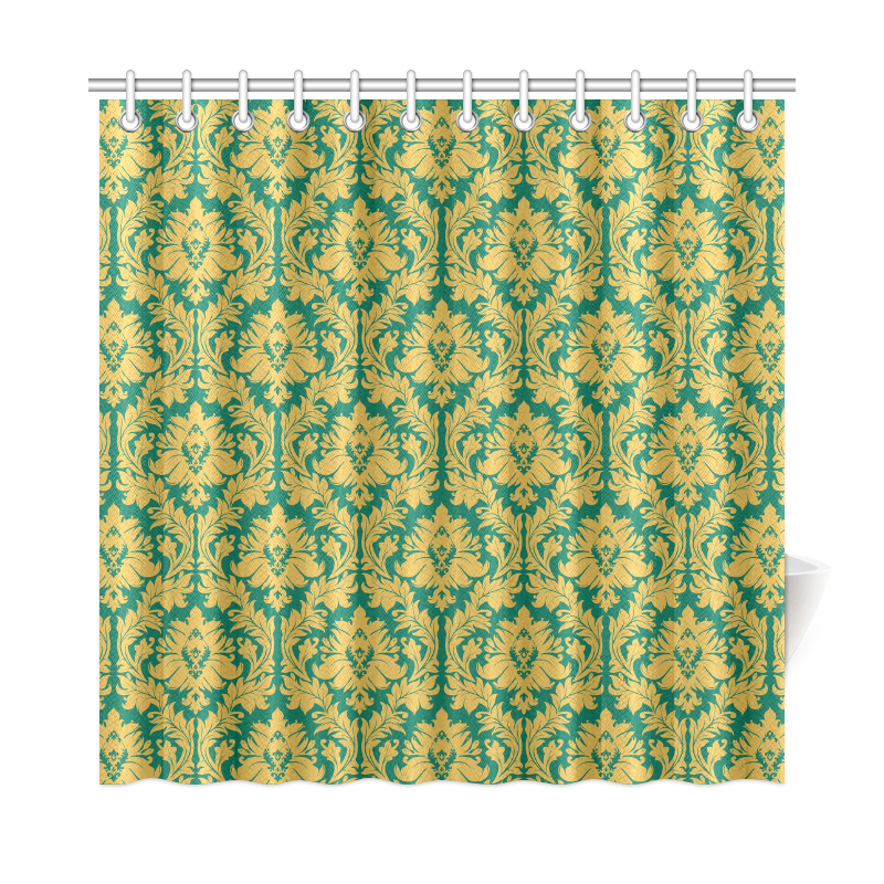 autumn fall green mustard yellow damask shower curtain 72