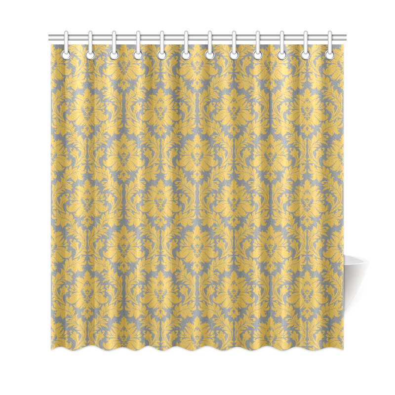 autumn fall mustard yellow grey damask shower curtain 69