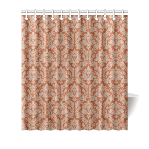 Autumn Fall Colors Red Beige Damask Shower Curtain 66 X72