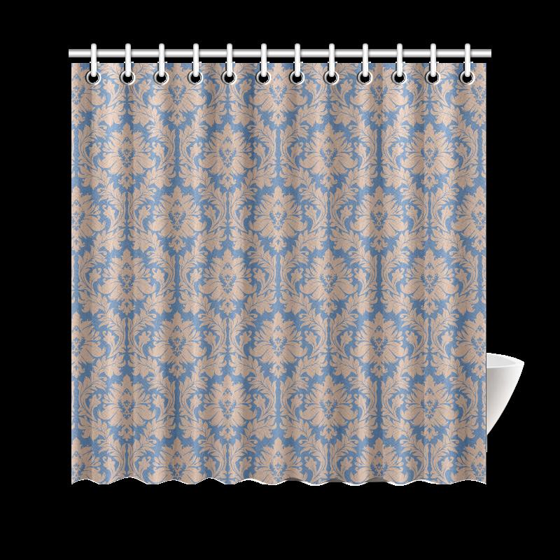 Autumn Fall Colors Beige Blue Damask Shower Curtain 69 X70 ID D
