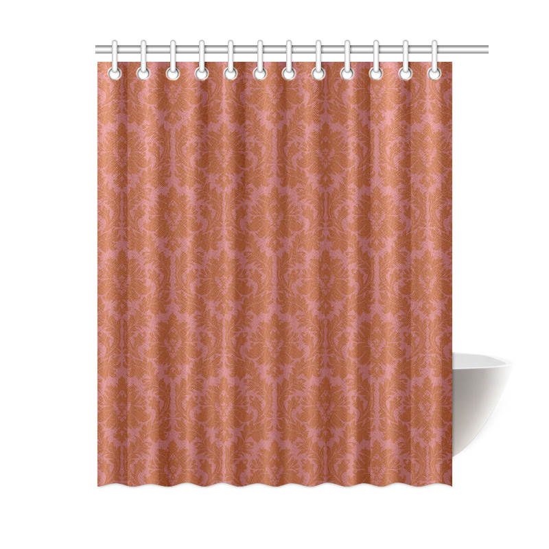 Autumn Fall Colors Red Damask Shower Curtain 60 X72 Id