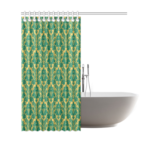 autumn fall green mustard yellow damask shower curtain 69