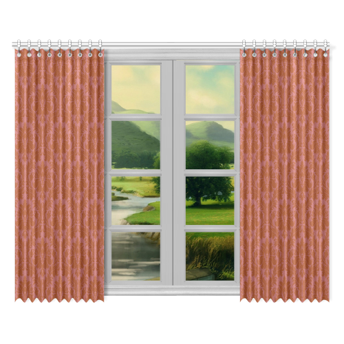Autumn Fall Colors Red Damask Window Curtain 52 X84 Two