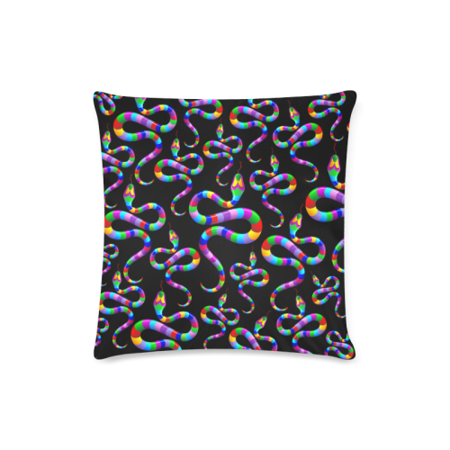 """Snake Psychedelic Rainbow Colors Custom Zippered Pillow Case 16""""x16""""(Twin Sides)"""