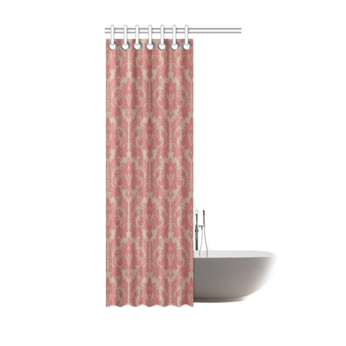 Fall Colors Red Pink Beige Damask Shower Curtain 36x72