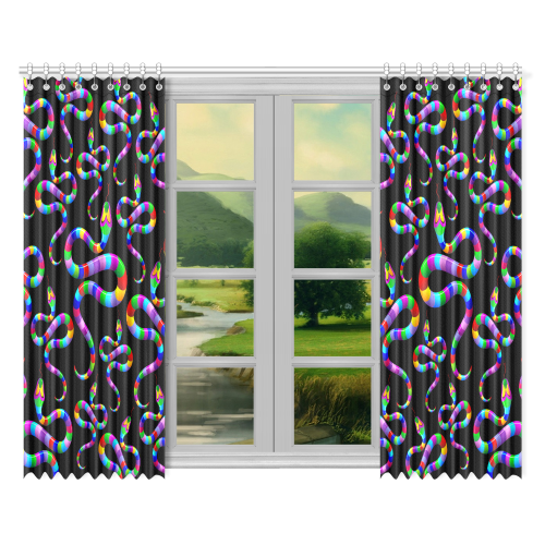 "Snake Psychedelic Rainbow Colors Window Curtain 52""x84""(Two Pieces)"