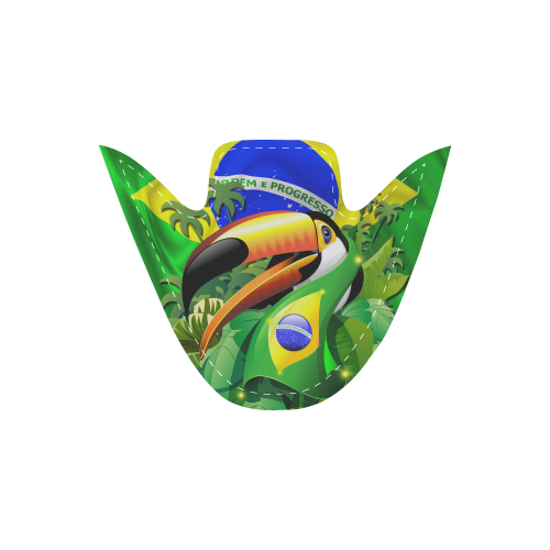 Brazil Flag with Toco Toucan Women's Unusual Slip-on Canvas Shoes (Model 019)