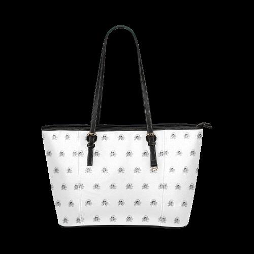 Skull 816 white (Halloween) pattern Leather Tote Bag/Large (Model 1640)