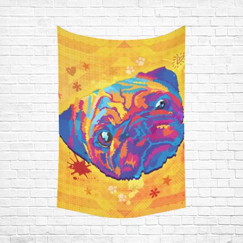 """pop art pug Cotton Linen Wall Tapestry 60""""x 90"""""""