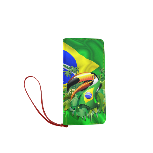 Brazil Flag with Toco Toucan Women's Clutch Wallet (Model 1637)