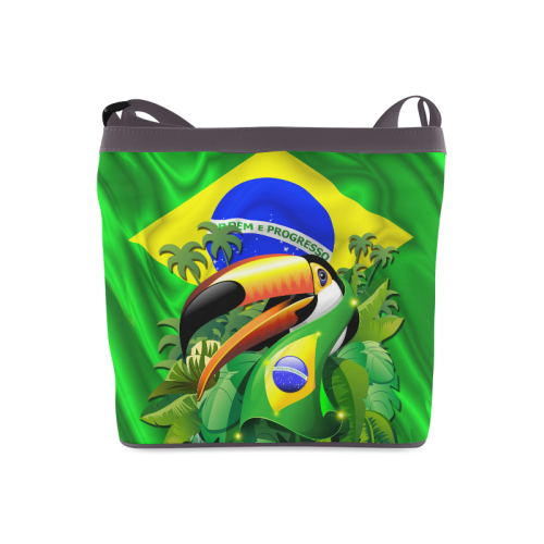 Brazil Flag with Toco Toucan Crossbody Bags (Model 1613)