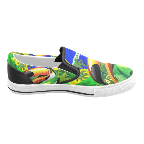 Brazil Flag with Toco Toucan Men's Slip-on Canvas Shoes (Model 019)