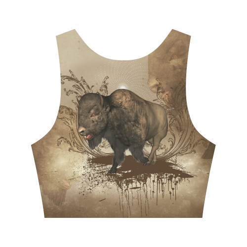 Awesome bison on vintage background Women's Crop Top (Model T42)