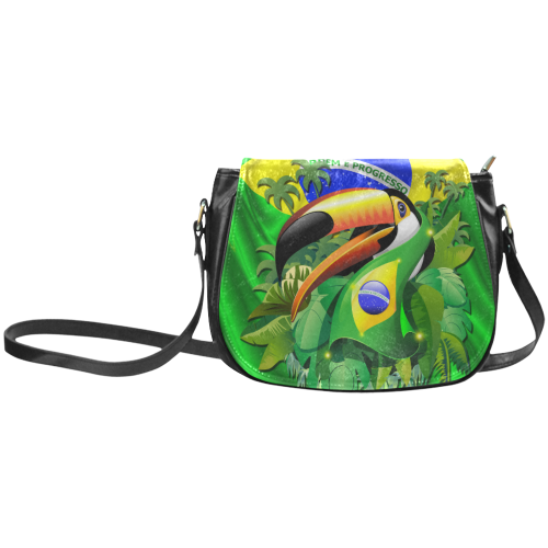Brazil Flag with Toco Toucan Classic Saddle Bag/Small (Model 1648)