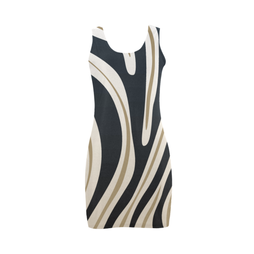 Zebra Stripes Black, Gold, White Dress Medea Vest Dress (Model D06)