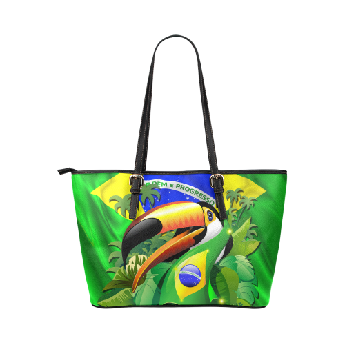 Brazil Flag with Toco Toucan Leather Tote Bag/Large (Model 1651)