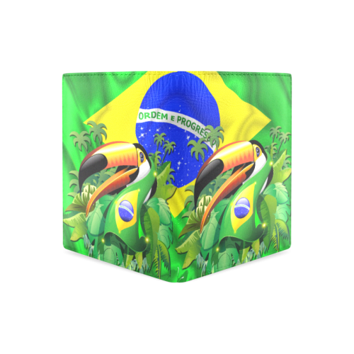 Brazil Flag with Toco Toucan Men's Leather Wallet (Model 1612)