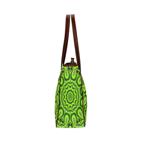 Spring Lime Green Garden Mandala, Abstract Spirals Classic Tote Bag (Model 1644)