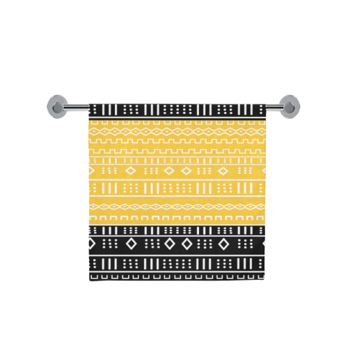 "Black and Gold Modern Mudcloth Bath Towel 30""x56"""