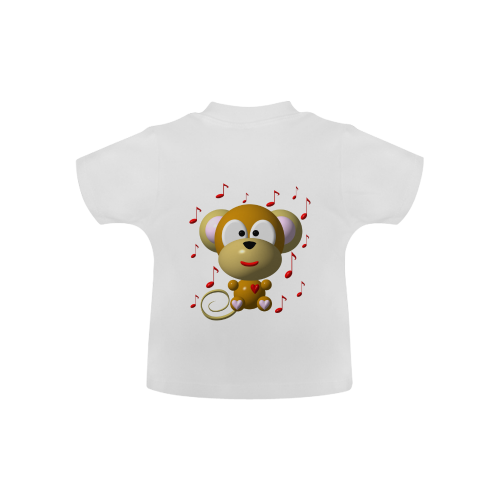 Cute Critters With Heart: Musical Monkey - White Baby Classic T-Shirt (Model T30)