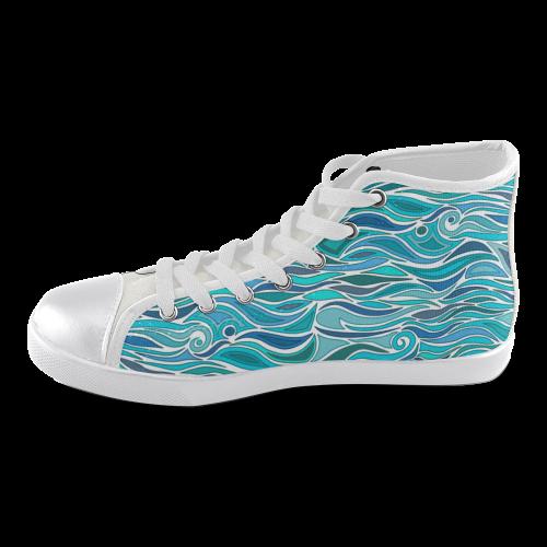 Ocean Waves Blue Abstract Doodle by ArtformDesigns Women\u0027s High Top Canvas  Shoes (Model 002)