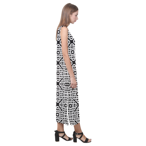 CELTIC KNOT pattern - black white Phaedra Sleeveless Open Fork Long Dress (Model D08)