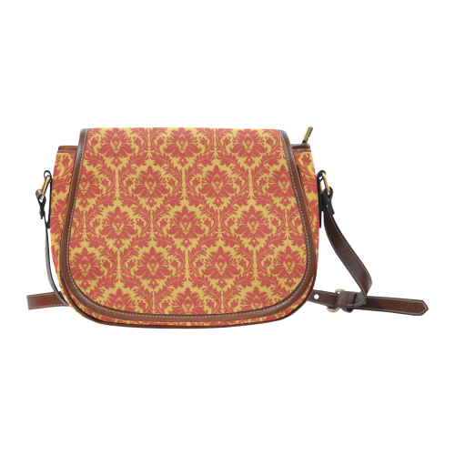 autumn fall colors yellow red damask pattern Saddle Bag/Large (Model 1649)