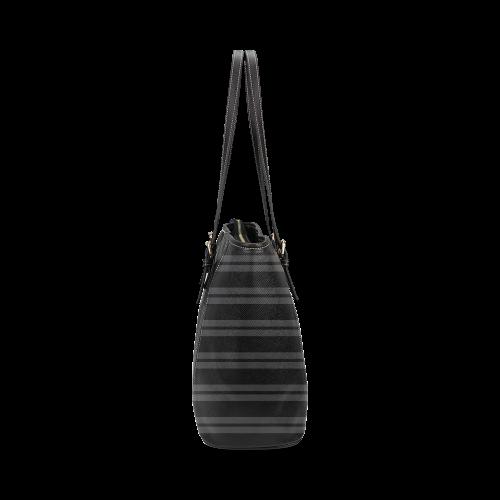 Gray/Black Stripes Leather Tote Bag/Large (Model 1640)