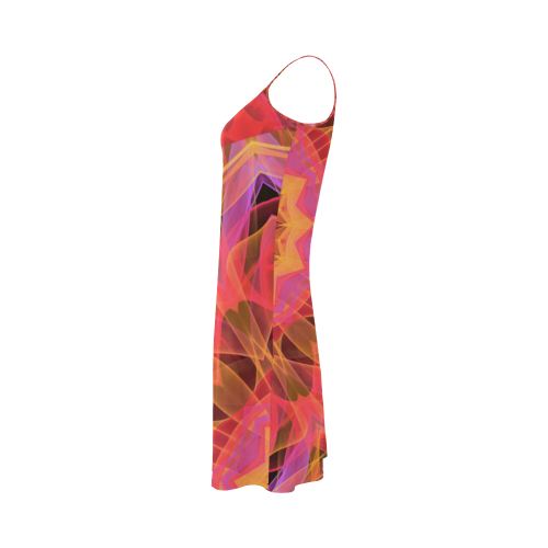 Abstract Peach Violet Mandala Ribbon Candy Lace Alcestis Slip Dress (Model D05)