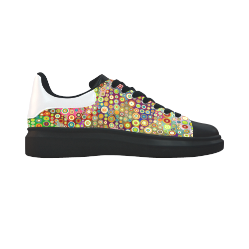 Multicolored RETRO POLKA DOTS pattern Low Top Loafers Womens Shoes (Model 026)
