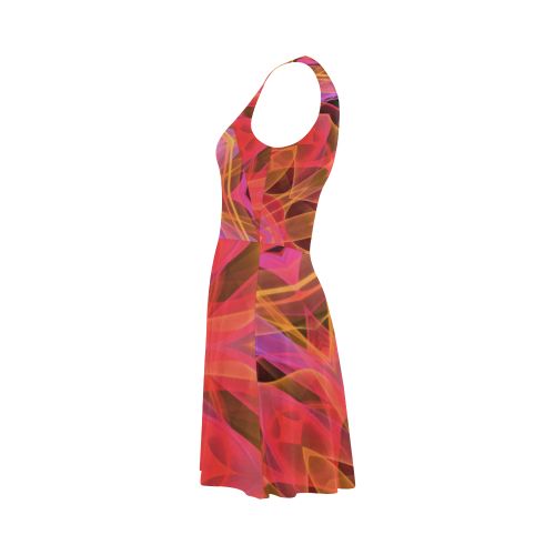 Abstract Peach Violet Mandala Ribbon Candy Lace Atalanta Sundress (Model D04)