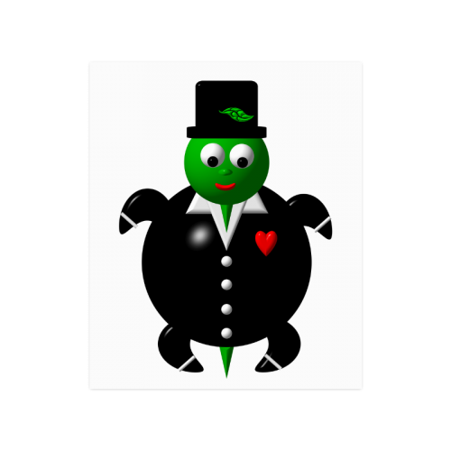 """Cute Critters With Heart: Turtle in a Tuxedo Poster 20""""x24"""""""